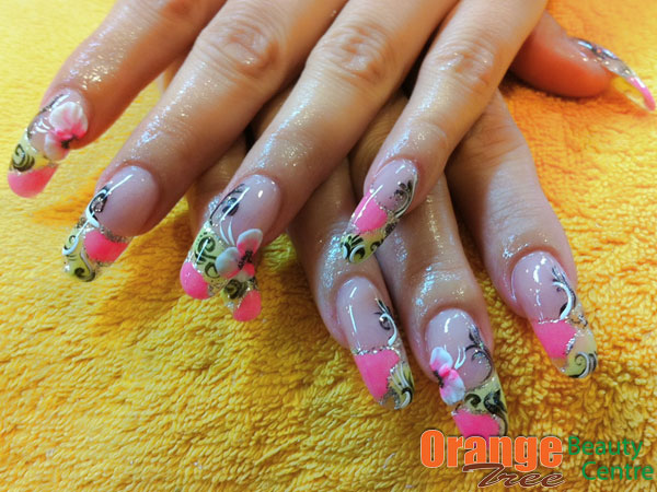 Artsy Rounded Acrylic Gel Nail Design Art Pink And Yellow By